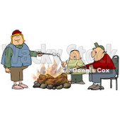 Clipart Illustration of a White Family With Two Parents And An Only Child, A Boy, Roasting Marshmallows Over A Camp Fire While Camping © Dennis Cox #22022