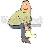 Clipart Illustration of a White Man Slipping A Cover Over His Boot Or A Sock On His Foot © djart #22023