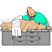 Clipart Illustration of a White Male Medical Doctor In Scrubs, Bending Over And Giving A Middle Aged Man A Colon Exam During A Physical © djart #22091