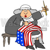 Clipart Illustration of Betsy Ross Sitting On A Stool And Sewing The Betsy Ross Flag With 13 Stars © Dennis Cox #22096
