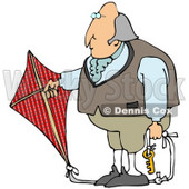 Clipart Illustration of Benjamin Franklin Holding A Red Kite With A Key On The Ropes While Conducting His Electrical Experiment © Dennis Cox #22097