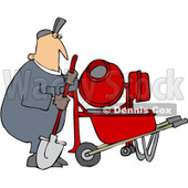 Royalty-Free (RF) Clipart Illustration of a Caucasian Worker Man Standing By A Cement Mixer © Dennis Cox #223728