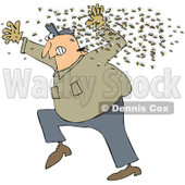 Royalty-Free (RF) Clipart Illustration of a Chubby Man Running Away From A Swarm Of Bees © djart #223729