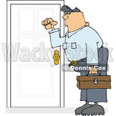 Royalty-Free (RF) Clipart Illustration of a Caucasian Worker Man Knocking On A Door © djart #223730