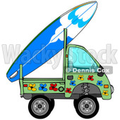 Royalty-Free (RF) Clipart Illustration of a Mini Green Floral Truck With A Surf Board On The Back © djart #223732