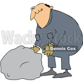 Royalty-Free (RF) Clipart Illustration of a Caucasian Worker Man Moving A Large Rock © djart #223735