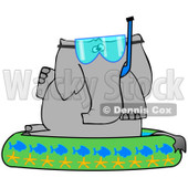 Royalty-Free (RF) Clipart Illustration of an Elephant Wearing A Snorkel Mask And Sitting In A Kiddie Pool © Dennis Cox #223738