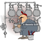 Royalty-Free (RF) Clipart Illustration of a Worker Man Changing A Gas Meter Header By A Brick Wall © Dennis Cox #224973
