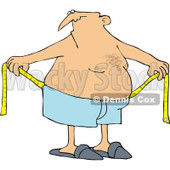 Royalty-Free (RF) Clipart Illustration of a Chubby Man Measuring Around His Waist © djart #226103