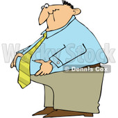 Royalty-Free (RF) Clipart Illustration of a Fat Businessman Standing And Grabbing His Belly Fat © djart #226104