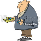 Royalty-Free (RF) Clipart Illustration of a Man Holding A Blue Pill And A Daily Organizer © djart #226108