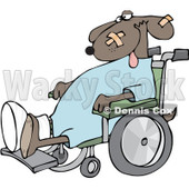 Royalty-Free (RF) Clipart Illustration of a Dog With A Cast And Bandages, Sitting In A Wheelchair © djart #226109