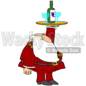 Royalty-Free (RF) Clipart Illustration of Santa Holding Up A Wine Tray With Glasses © Dennis Cox #229146