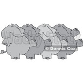 Royalty-Free (RF) Clipart Illustration of a Chorus Line Of Elephants Dancing © djart #229147