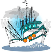 Royalty-Free (RF) Clipart Illustration of a Trawler Fishing Boat At Sea - 3 © djart #229148
