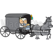 Royalty-Free (RF) Clipart Illustration of a Gray Horse Pulling A Couple In An Amish Buggy © Dennis Cox #229149