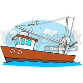 Royalty-Free (RF) Clipart Illustration of a Trawler Fishing Boat At Sea - 1 © Dennis Cox #229150