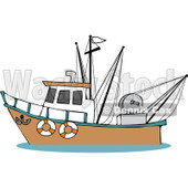 Royalty-Free (RF) Clipart Illustration of a Trawler Fishing Boat At Sea - 4 © djart #229153
