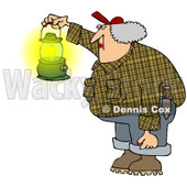 Royalty-Free (RF) Clipart Illustration of a Woman Wearing Plaid And Carrying A Gas Lantern © djart #229154