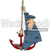 Royalty-Free (RF) Clipart Illustration of a Captain Swinging On An Anchor © djart #229155