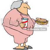 Royalty-Free (RF) Clipart Illustration of a Fat Granny In Pink Sweats, Carrying A Soda And Cheeseburger © djart #229156