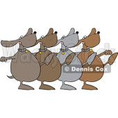 Royalty-Free (RF) Clipart Illustration of a Chorus Line Of Dancing Dogs © djart #229157