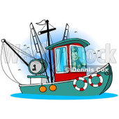 Royalty-Free (RF) Clipart Illustration of a Trawler Fishing Boat At Sea - 5 © djart #229159