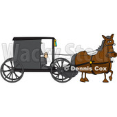 Royalty-Free (RF) Clipart Illustration of a Brown Horse Pulling An Amish Buggy © Dennis Cox #229161