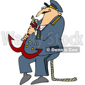 Royalty-Free (RF) Clipart Illustration of a Captain Carrying A Heavy Anchor © djart #229162