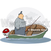 Royalty-Free (RF) Clipart Illustration of a Man Standing Up In A Sinking Fishing Boat © Dennis Cox #229164