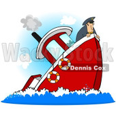 Royalty-Free (RF) Clipart Illustration of a Captain On A Sinking Boat © Dennis Cox #229166