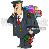 Royalty-Free (RF) Clipart Illustration of a Ship Captain Carrying Colorful Glass Buoys © djart #229179