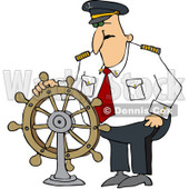 Royalty-Free (RF) Clipart Illustration of a Ship Captain Standing At The Helm © Dennis Cox #229180