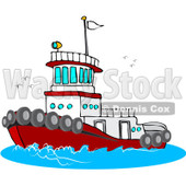 Royalty-Free (RF) Clipart Illustration of a Red And White Tug Boat At Sea © Dennis Cox #231456