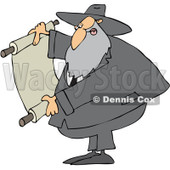 Royalty-Free (RF) Clipart Illustration of a Rabbi Man Reading A Scroll © djart #231457