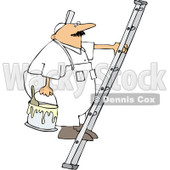 Royalty-Free (RF) Clipart Illustration of a Worker Man Carrying A Paint Bucket Up A Ladder © djart #231458