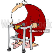 Royalty-Free (RF) Clipart Illustration of Santa Wearing Bunny Slippers And Using A Walker With A Horn Attached © Dennis Cox #231459