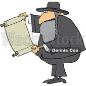 Royalty-Free (RF) Clipart Illustration of a Rabbi Man Reading A Torah Scroll © djart #231461