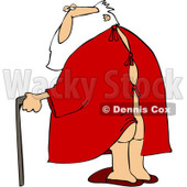 Royalty-Free (RF) Clipart Illustration of Santa Walking With A Cane, His Butt Showing Through A Hospital Gown © Dennis Cox #231463