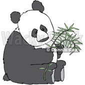 Royalty-Free (RF) Clipart Illustration of a Giant Panda Sitting And Holding A Stalk Of Bamboo © Dennis Cox #231467