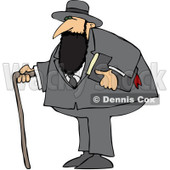Royalty-Free (RF) Clipart Illustration of a Jewish Man With A Cane And Bible © djart #231469