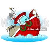 Royalty-Free (RF) Clipart Illustration of Santa On A Sinking Boat © Dennis Cox #231471