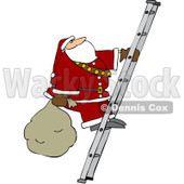 Royalty-Free (RF) Clipart Illustration of Santa Carrying A Sack Up A Ladder © djart #231473