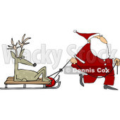 Royalty-Free (RF) Clipart Illustration of Santa Walking And Pulling A Sled With A Lazy Reindeer © djart #231474