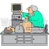 Royalty-Free (RF) Clipart Illustration of an Ultrasound Technician Taking A Sonograph Of A Pregnant Woman's Belly © Dennis Cox #231645