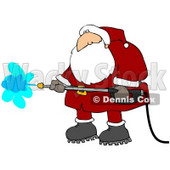 Clipart Illustration of Santa Claus In A Red And White Suit And Boots, Operating A Pressure Washer © Dennis Cox #23816