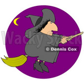 Clipart Illustration of a Chubby Black Haired Warty Female Witch Flying In A Purple Sky On Her Broomstick On Halloween, A Crescent Moon In The Distance © Dennis Cox #23817