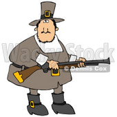 Clipart Illustration of a Confused Fat Male Pilgrim In Brown, Holding A Rifle While Out Hunting For Turkey Birds © djart #23818