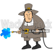 Clipart Illustration of a Grumpy Male Pilgrim In Brown Clothes And A Hat, Operating A Pressure Washer © Dennis Cox #23819