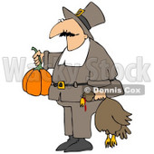 Clipart Illustration of a Male Pilgrim In Brown, Carrying A Pumpkin And A Dead Turkey Bird To A Thanksgiving Feast © Dennis Cox #23820